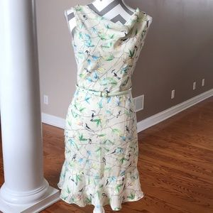 Spring floral dress with birds and matching belt